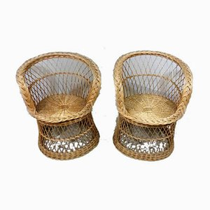 Rattan Easy Chairs, 1970s, Set of 2