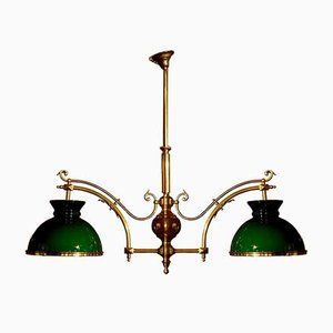 Opaline Green Billiard Chandelier, 1940s