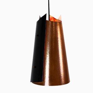 Lámpara colgante danesa de cobre y metal, 1965