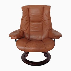Norwegian Leather Lounge Chairs and Ottoman Set from Ekornes, Set of 3