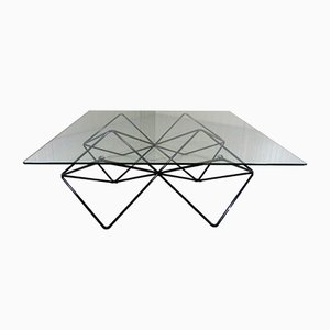 Black Wire Steel and Glass Coffee Table, 1980s