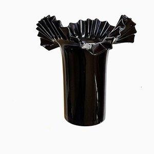 Mid-Century Vase aus gekräuseltem Glas