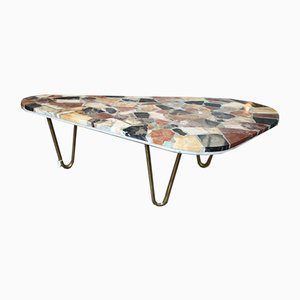 Mid-Century Kidney-Shaped Marble Coffee Table, 1950s