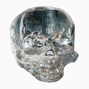 Schwedischer Vintage Skull Kerzenhalter von Kosta Boda