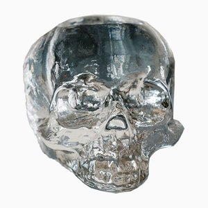 Vintage Swedish Sculptural Skull Candleholder from Kosta Boda
