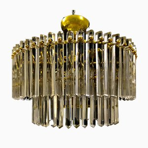 Glass and Brass Chandelier from Venini, 1960s
