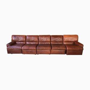 Canapé Modulable Vintage en Cuir de Jori