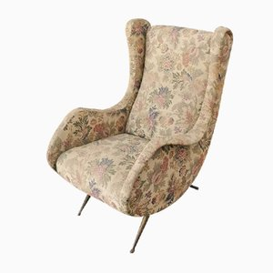 Italian Floral Fabric, Brass, and Wood Lounge Chair in the Style of Marco Zanuso, 1960s