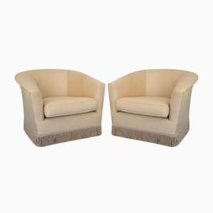 Vintage Beige Fabric Lounge Chairs, 1950s, Set of 2