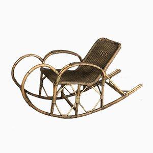 Antique Rattan Rocking Chair, 1900s