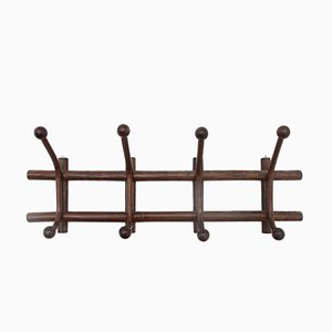 Coat Rack with Curved Rattan Hangers, 1960s