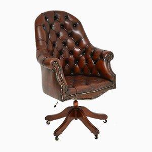 Antique Georgian Style Leather Swivel Desk Chair, 1950s