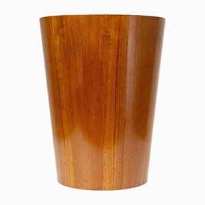 Swedish Teak Waste Paper Basket by Martin Åberg for Rainbow, 1950s