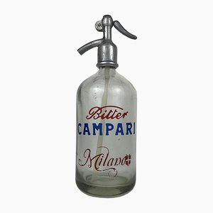 Italian Bitter Campari Milano Advertisement Seltzer Soda Bottle, 1950s