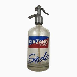 Italienische Werbung Cinzano Soda Selters Flasche, 1950er