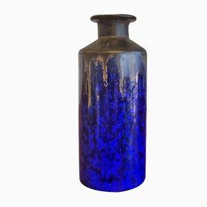 Blaue Kristalline Zylinder Vase von Wendelin Stahl, 1960er