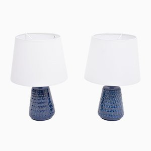 Mid-Century Blue Stoneware Model 1019 Table Lamps by Einar Johansen for Søholm, 1970s, Set of 2