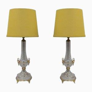 Lampade da tavolo Mid-Century in ottone dorato e vetro, Italia, anni '70, set di 2