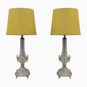 Mid-Century Italian Glass and Brass Gilt Table Lamps, 1970s, Set of 2