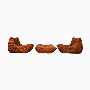 Vintage Leather Togo Living Room Set by Michel Ducaroy for Ligne Roset, 1990s, Set of 3