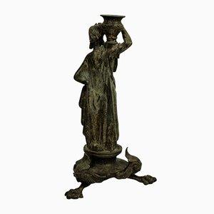 Antique Bronze Grand Tour Danaid Candleholder
