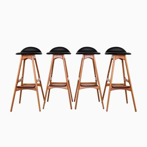 Mid-Century Danish Rosewood Barstools in Teak & Leather by Erik Buch for O.D. Møbler, Set of 4