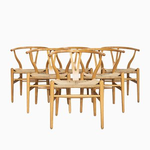 Wishbone Chairs in Beech by Hans Wegner for Carl Hansen & Søn, 1980s, Set of 6