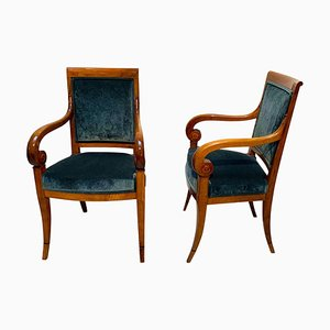 Neoclassical Armchairs in Walnut & Green Velvet, France, 1830s, Set of 2