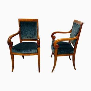 Neoklassizistische Armlehnstühle aus Walnuss & grünem Samt, Frankreich, 1830er, 2er Set