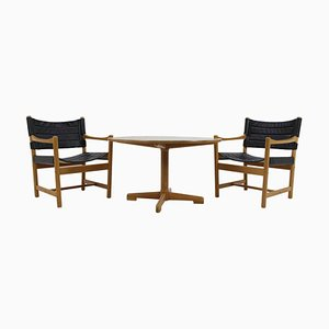 Fauteuils en Cuir Noir et Table Basse par Ditte & Adrian Heath, Danemark, 1960s, Set de 3