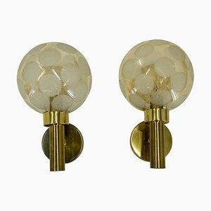 Brass and Glass Wall Lights, Denmark, 1970s, Set of 2