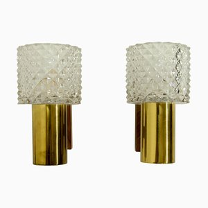 Danish Brass, Glass & Rosewood Wall Lights, 1960s, Set of 2