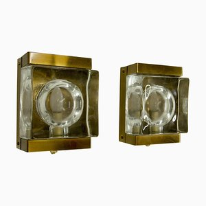 Glass and Brass Maritim Wall Lights from Vitrika, 1960s, Set of 2