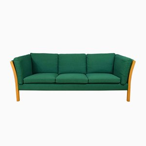Mid-Century Danish Green Wool 3-Seat Sofa by Hanne Vedel for Andreas Hansen, 1950s