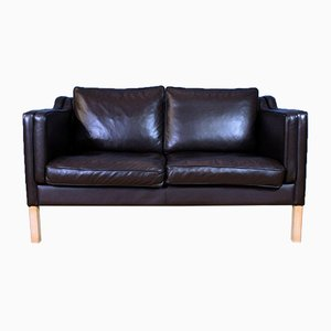 Mid-Century Modern Danish Brown Leather 2-Seat Sofa in the Style of Borge Mogensen, 1970s