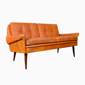 Mid-Century Danish Tan Leather 2-Seat Sofa from Skippers Mobler, 1960s