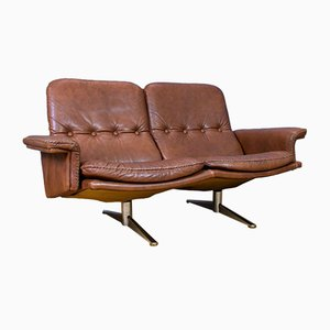 Mid-Century Danish Brown Leather 2-Seat Sofa by Werner Langenfeld for ESA, 1970s