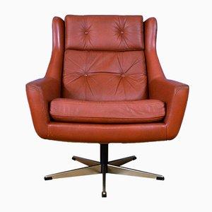 Mid-Century Danish Tan Leather Swivel Chair from Erhardsen & Andersen, 1960s