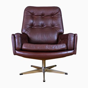 Mid-Century Danish Cognac Brown Leather Swivel Chair, 1960s
