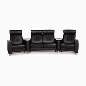 Black Leather Arion 4-Seat Storage Space Function Sofa from Stressless