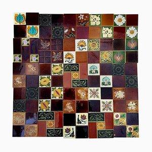 Jugendstil Panel of 25 Handmade Relief Tiles, France, 1930s