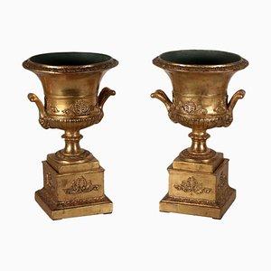 19th Century Italian Gold Leaf Vases, Set of 2