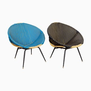 Woven Plastic Wicker Bucket Chairs in Black & Blue, 1950s, Set of 2