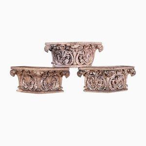 Antique Terracotta Capitals, Set of 3