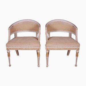 Antike Schwedische Armlehnstühle im Empire Stil, 2er Set