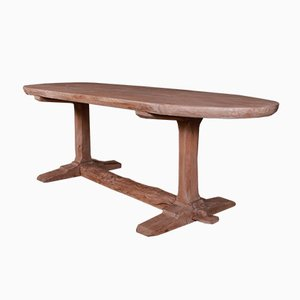 Antique French Elm Trestle Table, 1820s