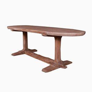 Table Tréteau Antique en Orme, France, 1820s