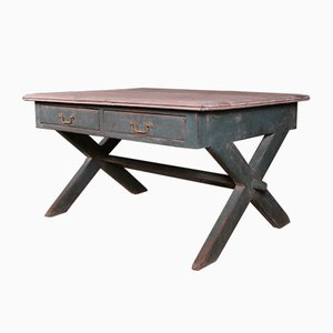 Antique English Trestle Table, 1860s