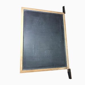 Large Antique Industrial Blackboard with Black Wooden Wall Attachment, 1920s