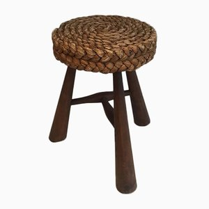 French Wood and Rope Stool by Audoux Minet, 1950s